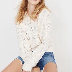 Madewell Fringe V-Neck Pullover Sweater NWT| M